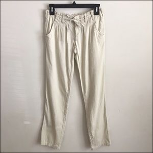 Cream Draw String Linen Pants